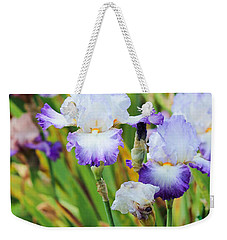 Weekender Tote Bag featuring the photograph Two Iris by Patricia Babbitt