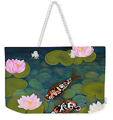 Two Koi Fish And Lotus Flowers Weekender Tote Bag