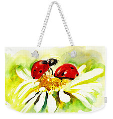 Two Ladybugs In Daisy After My Original Watercolor Weekender Tote Bag