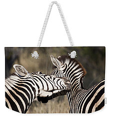 Weekender Tote Bag featuring the photograph Two Plains Zebra Botswana by Liz Leyden
