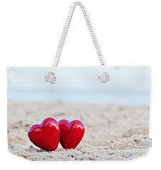 Two Red Hearts On The Beach Symbolizing Love Weekender Tote Bag
