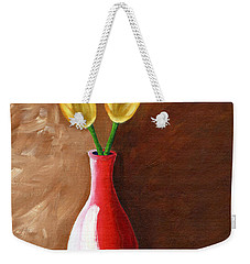 Weekender Tote Bag featuring the painting Two Tulips And A Pink Rose by Laura Forde