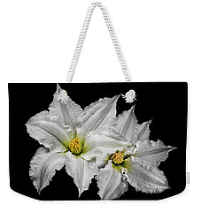 Two White Clematis Flowers On Black Weekender Tote Bag by Jane McIlroy