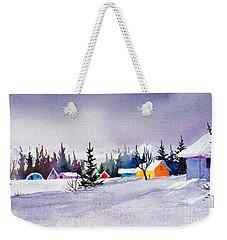 Weekender Tote Bag featuring the painting Tyonek Village Impression by Teresa Ascone