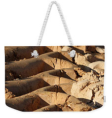 Weekender Tote Bag featuring the photograph Tyre Art - Bulldozer Tyre Marks by Ramabhadran Thirupattur