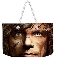 Weekender Tote Bag featuring the painting Tyrion Lannister - Peter Dinklage Game Of Thrones Artwork 2 by Sheraz A
