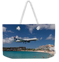 U S Airways Low Approach To St. Maarten Weekender Tote Bag
