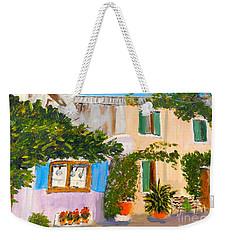 Weekender Tote Bag featuring the painting Umbera Courtyard by Pamela  Meredith
