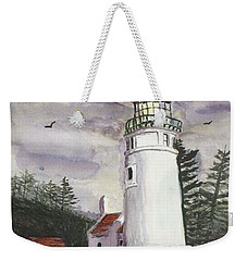 Weekender Tote Bag featuring the painting Umpqua Lighthouse by Chriss Pagani