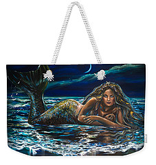 Under A Crescent Moon Mermaid Pillow Weekender Tote Bag