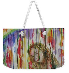 Weekender Tote Bag featuring the painting Under A Crying Rainbow by Anna Ruzsan