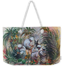 Under The Palm Trees At The Oasis Weekender Tote Bag by Laila Awad Jamaleldin