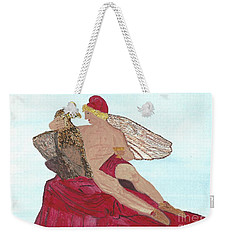 Weekender Tote Bag featuring the painting Under The Wings Of Love by Tracey Williams