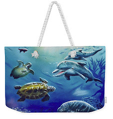 Weekender Tote Bag featuring the painting Under Water Antics by Thomas J Herring