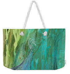 Weekender Tote Bag featuring the painting Undercover Peacock by Robin Maria Pedrero