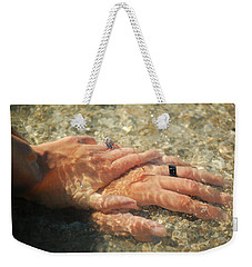 Weekender Tote Bag featuring the photograph Underwater Hands by Leticia Latocki