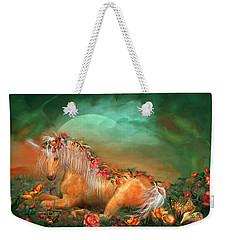 Unicorn Of The Roses Weekender Tote Bag by Carol Cavalaris