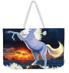 Unicorn Raging Sea Weekender Tote Bag by Chris Heitt