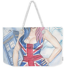 Union Jack Babe And The Tardis Weekender Tote Bag by Jimmy Adams