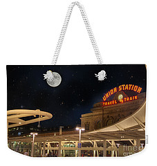 Union Station Denver Under A Full Moon Weekender Tote Bag by Juli Scalzi