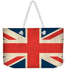 United Kingdom Union Jack England Britain Flag Vintage Distressed Finish Weekender Tote Bag by Design Turnpike