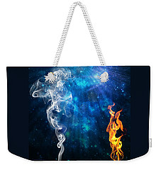 Weekender Tote Bag featuring the digital art Universal Energies At War by Leanne Seymour
