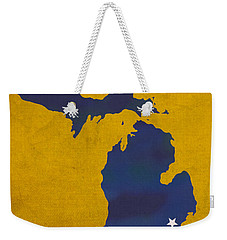 University Of Michigan Wolverines Ann Arbor College Town State Map Poster Series No 001 Weekender Tote Bag by Design Turnpike