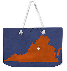 University Of Virginia Cavaliers Charlotteville College Town State Map Poster Series No 119 Weekender Tote Bag