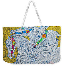 Weekender Tote Bag featuring the painting Untethered by Jani Freimann