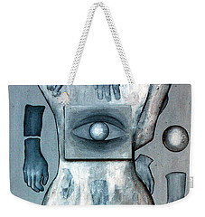 Weekender Tote Bag featuring the painting Listen Via Your Eyes by Fei A