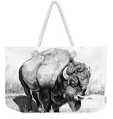 Up Close And Personal With Bison Weekender Tote Bag