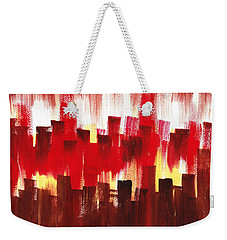 Weekender Tote Bag featuring the painting Urban Abstract Evening Lights by Irina Sztukowski