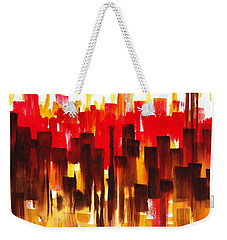 Weekender Tote Bag featuring the painting Urban Abstract Glowing City by Irina Sztukowski