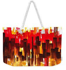 Urban Abstract Glowing City Weekender Tote Bag by Irina Sztukowski