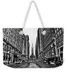 Weekender Tote Bag featuring the photograph Urban Canyon - Philadelphia City Hall by Bill Cannon
