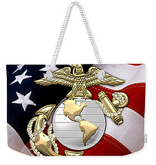 U. S. Marine Corps - U S M C Eagle Globe And Anchor Over American Flag. Weekender Tote Bag