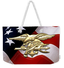 U. S. Navy S E A Ls Emblem Over American Flag Weekender Tote Bag