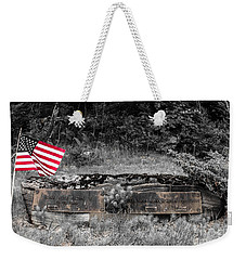 Weekender Tote Bag featuring the photograph Usmc Veteran Headstone by Sherman Perry
