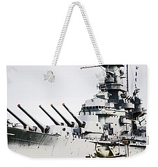 Weekender Tote Bag featuring the photograph Uss Alabama by Susan  McMenamin