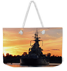 Weekender Tote Bag featuring the photograph Uss Battleship by Cynthia Guinn