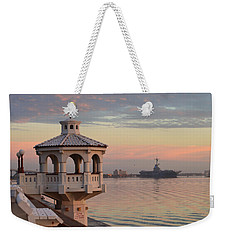 Uss Lexington At Sunrise Weekender Tote Bag by Leticia Latocki