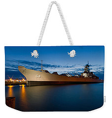 Uss Wisconsin At Sunset Weekender Tote Bag