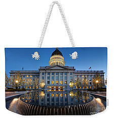 Utah State Capitol In Reflecting Fountain At Dusk Weekender Tote Bag