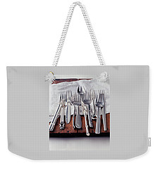 Various Forks On A Wooden Board Weekender Tote Bag