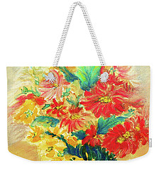 Weekender Tote Bag featuring the painting Vase by Jasna Dragun
