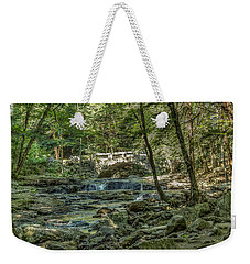 Weekender Tote Bag featuring the photograph Vaughan Woods Bridge by Jane Luxton