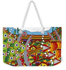 Vegetarians And Meat Eaters Weekender Tote Bag by Rojax Art