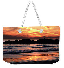 Weekender Tote Bag featuring the photograph Venice Beach Breaker Orange Yellow Sunset by Tom Wurl