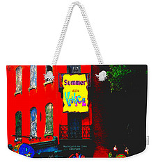 Weekender Tote Bag featuring the photograph Venice Cafe' Painted And Edited by Kelly Awad