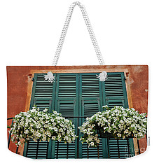 Weekender Tote Bag featuring the photograph Venice Flower Balcony 2 by Allen Beatty